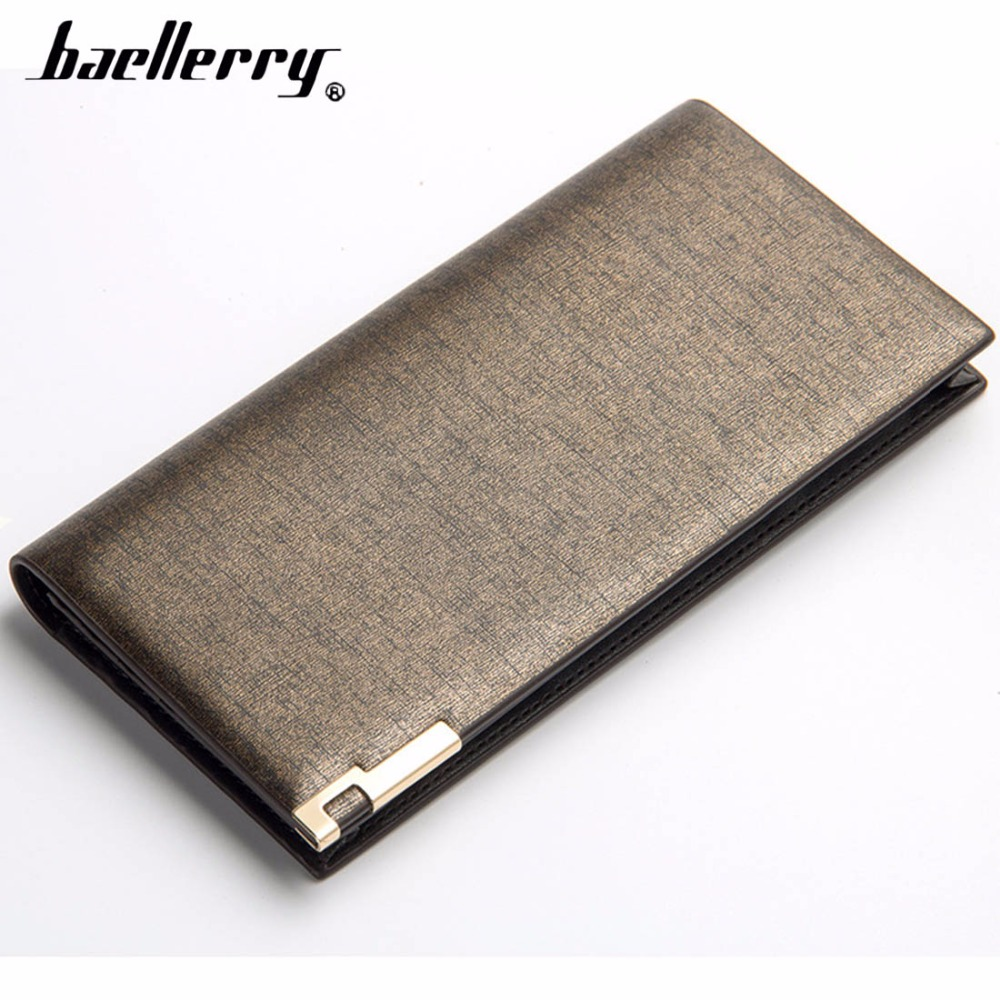 Baellerry wallet Super Thin Long Card Holder Top Quality PU Leather Men Slim Purse Classic Business Brand Fashion Smart Wallet