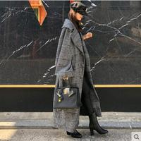 TREND Setter 2019 autumn and winter woolen Wool Trench Coa coat female long section new loose double breasted tie woven woolen
