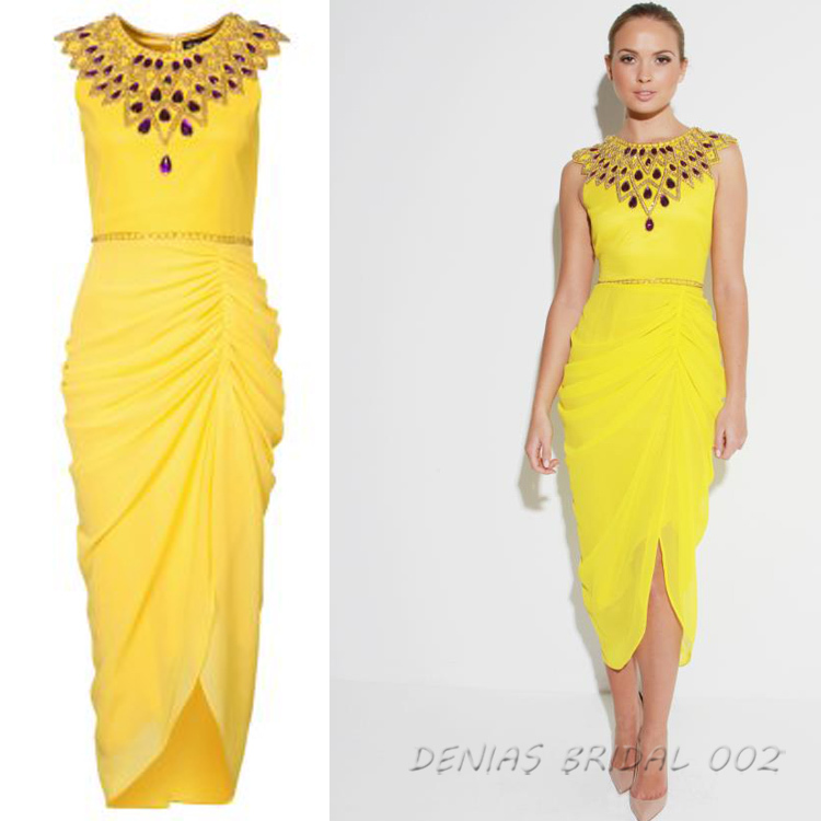 Aliexpress.com : Buy Ankle Length Beaded Chiffon Yellow Gowns Long ...
