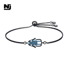NJ Trendy Evil Eye Design Charm Bracelets For Women Girls Chic Zircon Adjustable Chain Gold Black Hot Sale