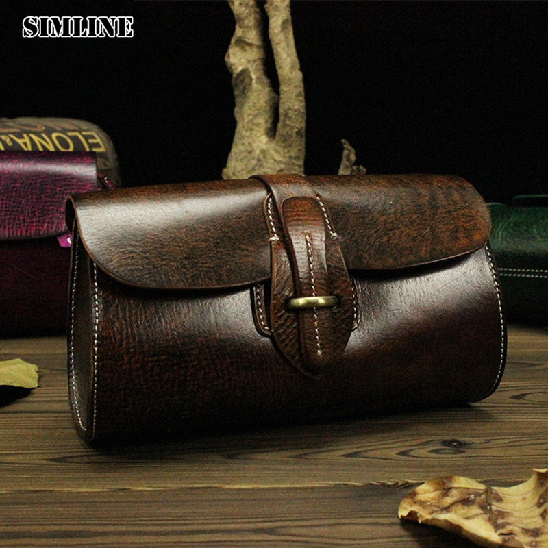 ФОТО Vintage Handmade 100% Genuine Vegetable Tanned Leather Cowhide Women Small Messenger Bag Shoulder Cross Body Bag Bags Handbags