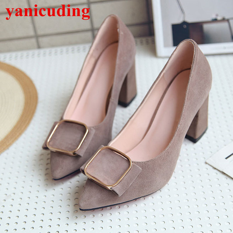 New Pointed Toe Metal Buckle Decor High Heel Suede Brand Runway Super Star Shoes Bow Tie Dress Party Zapatos Mujer Women Pumps pointed toe butterfly knot decor women pumps high heel sapato feminino chic brand runway star shoes bow tie women zapatos mujer