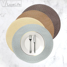Table Round Placemat Weave PP Dining Napkin Mats Bowl Pad Hotel Cutlery Table Decoration Tray Mat Braided Style Placemat