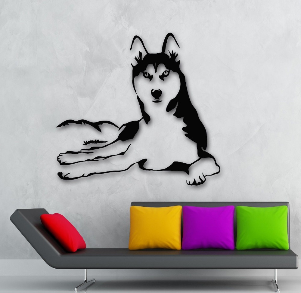 2015 new arrival husky dog animals vinyl decal pets for Stickers de pared