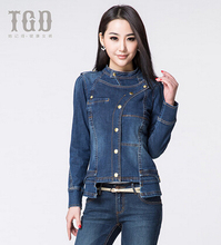 New Arrival 2016 Women Single Breasted Denim Jacket Fashion Autumn Spring Slim Jeans Coat Woman Outerwear Plus Size XL H7101