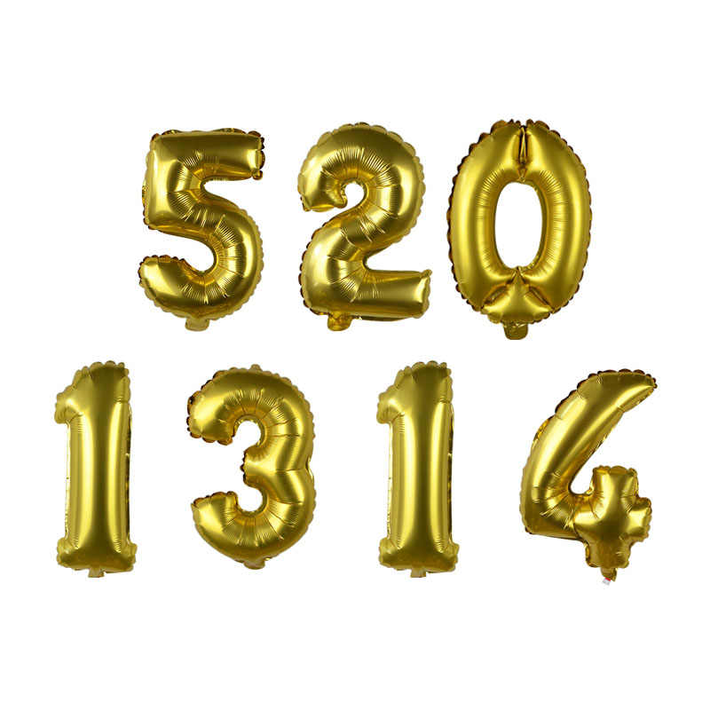 16 Inch Number Foil Balloons Gold Digit Air Ballons Happy Birthday Wedding Decoration Number Balloon New Year Party Supplies 75Z