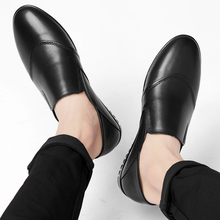ARUONET Black Men Shoes Slip-On Genuine Leather Loafers Soft Moccasins Business Male Handmade MenS Flats Homme Chaussure