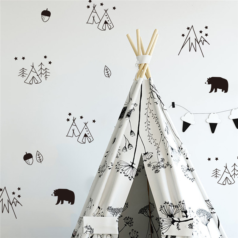 Nordic Cute Geometric Transparent Wall Sticker Wallpaper for Children Bedroom Home Deco Waterproof PVC Removable Art Decal Mural