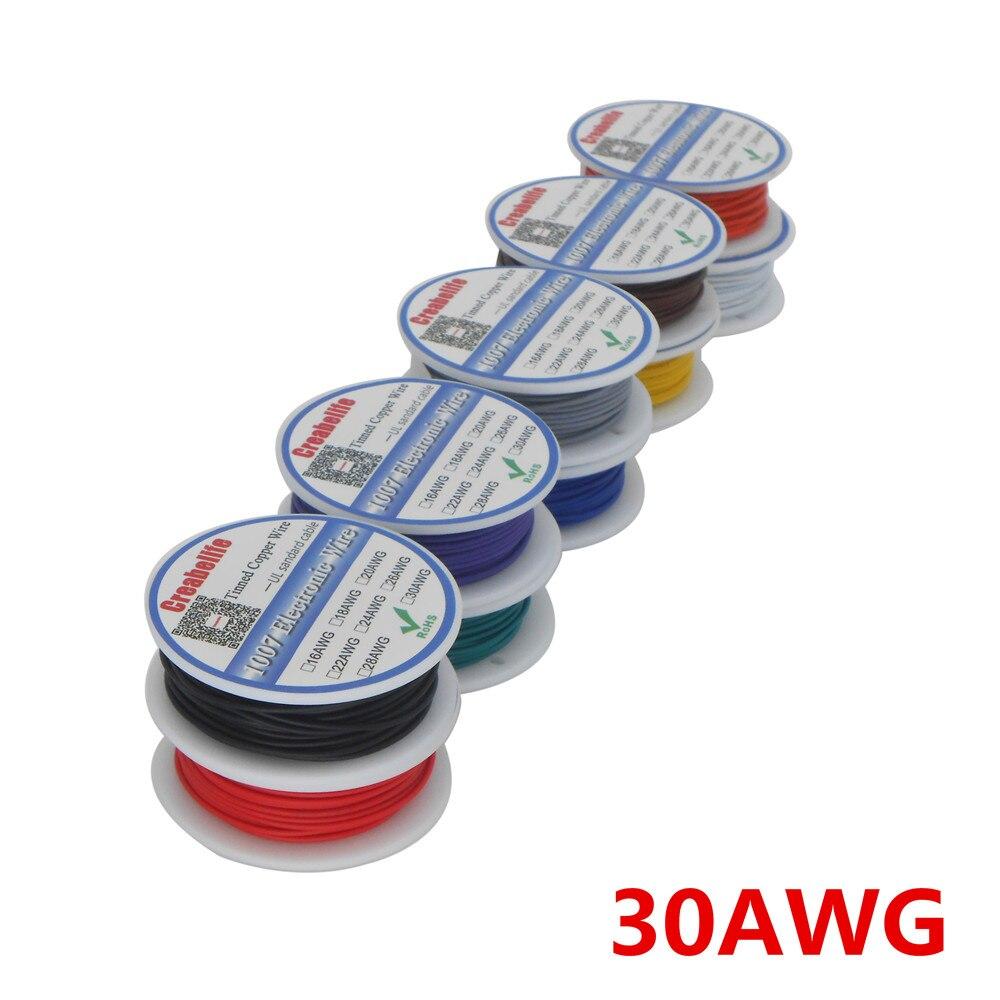 10 м/лот UL 1007 30AWG 10 видов цветов Электрический провод кабель Линия Луженая Медь PCB Провод RoHS UL сертификация изолированный светодиодный кабель