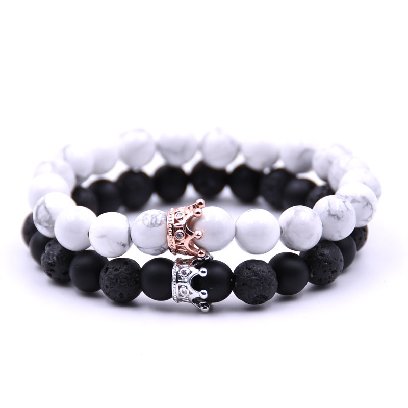 2018 Charms Natural Stone Beads Bracelet Rose Gold Color Crown Couple Lover Pulseiras Black White Lave Stone Bangle Jewelry