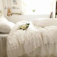 Белый роскошный кружевной комплект постельного белья с вышивкой слоев пододеяльник с оборками простыня покрывало кровать юбка покрывала с