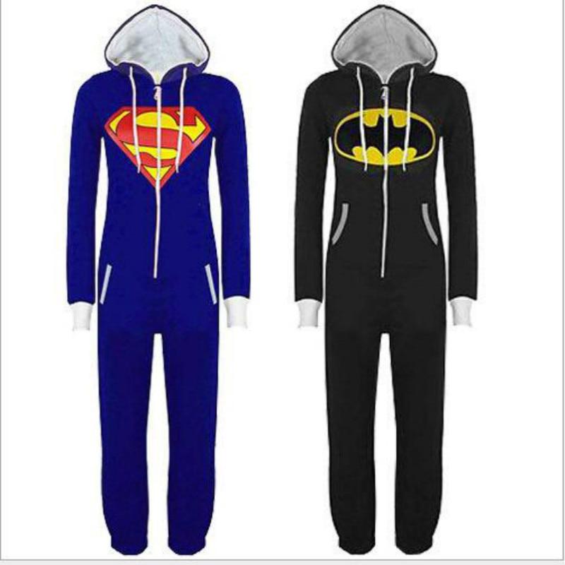 2017 Fashion Unisex Pyjamas Adult Pajamas Onesie Mens women Batman Superman one piece pajamas Sleepsuit Sleepwear free shipping