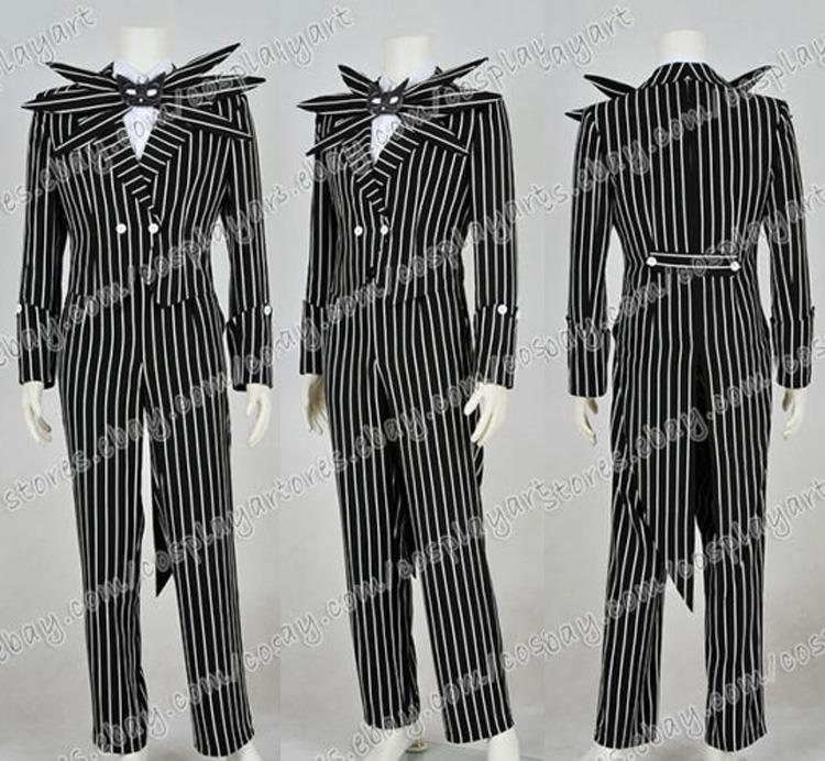 все цены на 2016 New Style The Nightmare Before Christmas Cosplay Jack Skellington Costume Black Stripe Suit Halloween Party