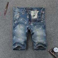 Hoge kwaliteit shorts jeans mannen schedel gedrukt denim jeans shorts hot koop heren korte jeans knielengte merk shorts 107