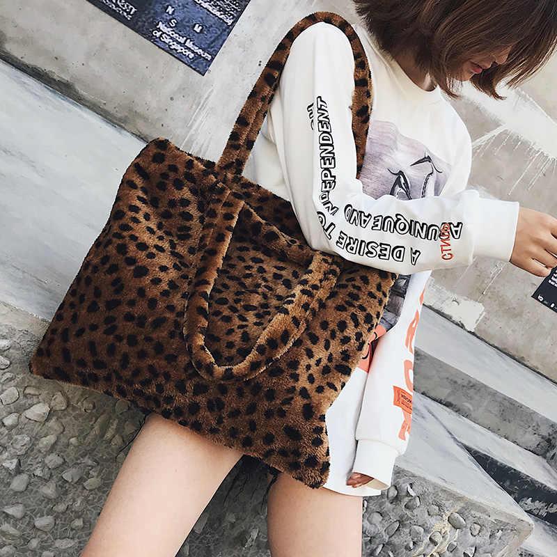 86ecbf9b1da5 Soft Faux Fur Leopard Shoulder Bags For Women 2018 Fashion Winter Warm  Handbags and Purses Ladies