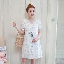 Новое летнее платье для беременных корейской версии v-образным вырезом с короткими рукавами платье для беременных еще беременна печати юбка