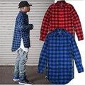 Kanye west Hip hop Streetwear Plaid Shirt Men High Street Fashion Swag Clothing Loose Hipster Longline Crewneck Chemise Homme