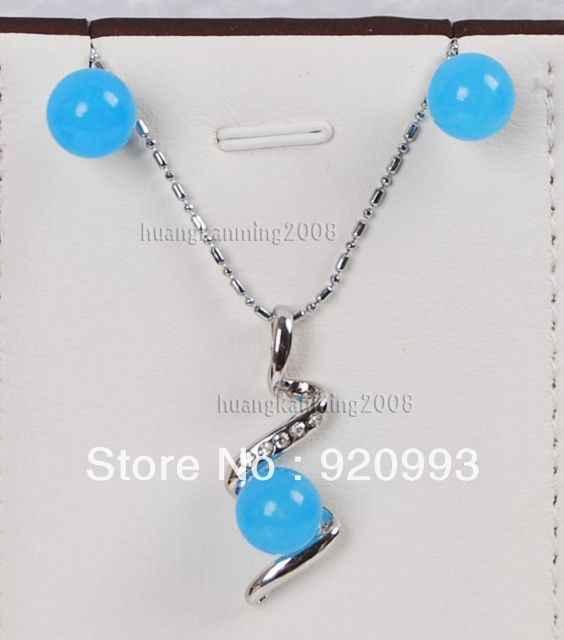 """חינם p & p ******* יפה 10 מ""""מ כחול תליון ירקן שרשרת עגיל הגדר 18 """" m08"""