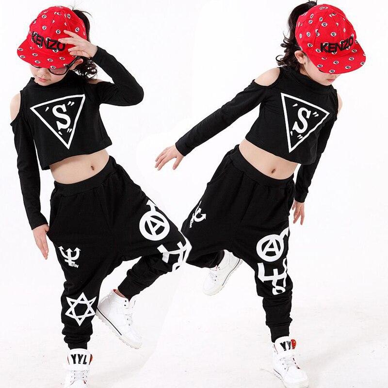 3a4a43f2e8a4 Kids Black Hip Hop Dance Clothes Girls Jazz Tap Dancing Tops+Pants ...