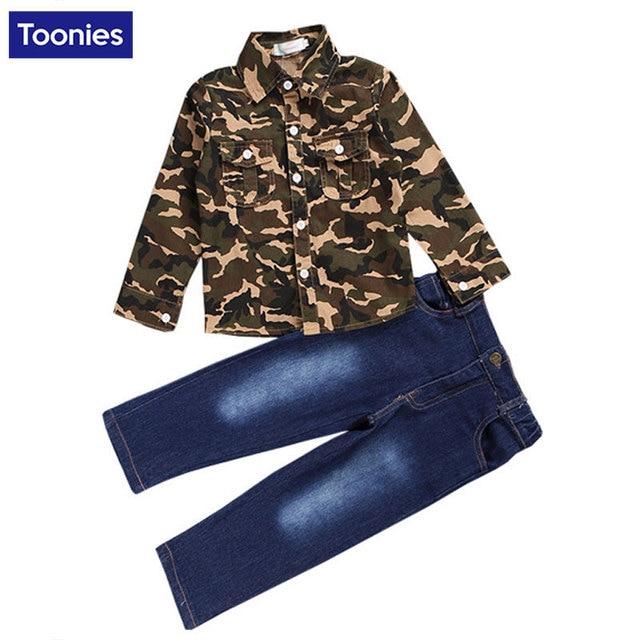 Fashion Camouflage Kids Boys Clothes Set Autumn Toddler Clothing 2pcs Camouflage Shirt + Jeans Boy Sports Suit Leisure Clothes