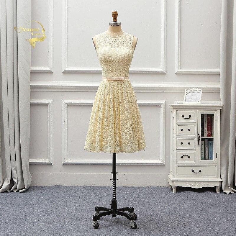 Robe Demoiselle D'honneur 2019 Cheap Champagne Lace Little Short   Cocktail   Party   Dress   Graduation   Dresses   Girl Formal Gowns JO125