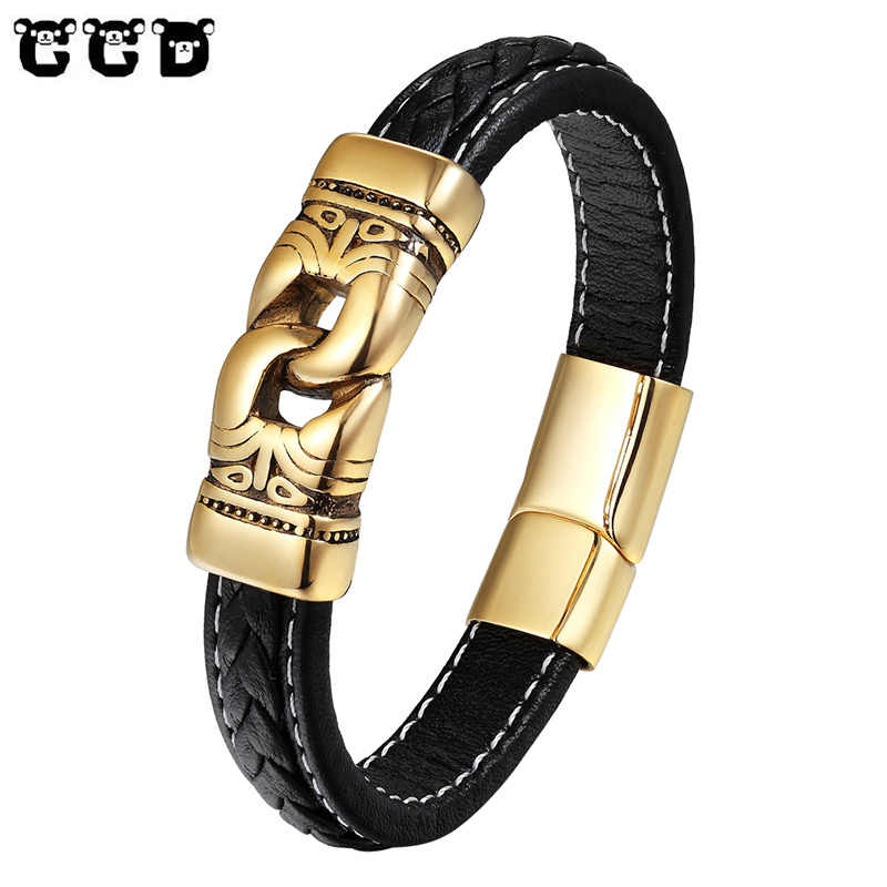 2dc0ac1497b Fashion Stainless Steel Bracelet Men Gold Silver Color Punk Genuine Leather  Bracelets & Bangles Chain Charm