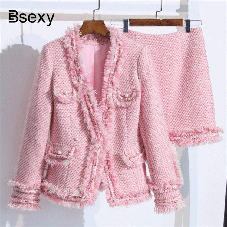 Luxury Designer Pink Tweed Jacket 2018 Autumn Winter Elegant V neck Thick tassel Trim Women Jacket set Office Lady Wool Coat