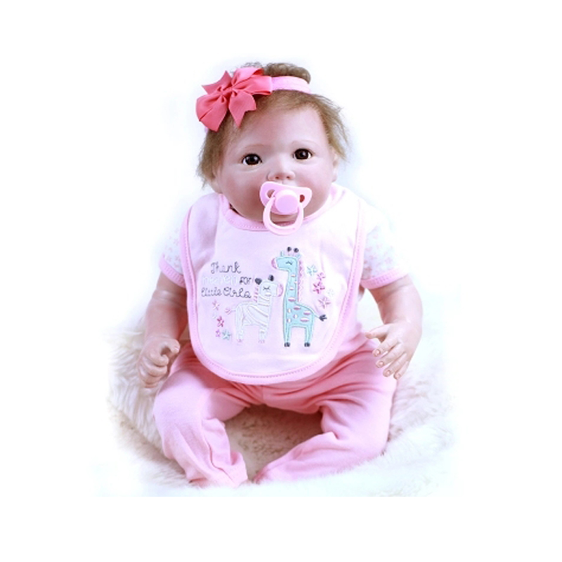 Lovely 20 inch Reborn Baby Doll Silicone Vinyl Cloth Body Realistic Newborn Baby Girl Alive Doll Soft Safe Children Gifts Toys hot sale 2016 npk 22 inch reborn baby doll lovely soft silicone newborn girl dolls as birthday christmas gifts free pacifier