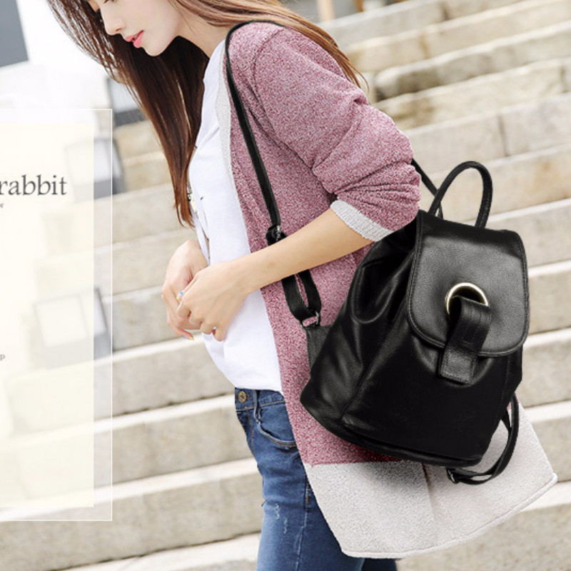 New Multi-function Backpack Female Fashion Schoolbag Bookbag Genuine Leather Women's Bag