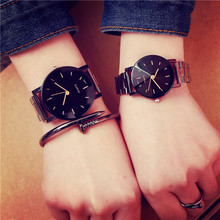 Luxury Brand Men Women Watches Black Stainless Steel Band Watch Lovers Fashion Simple Stylish Couple Wristwatch Hot New relogio