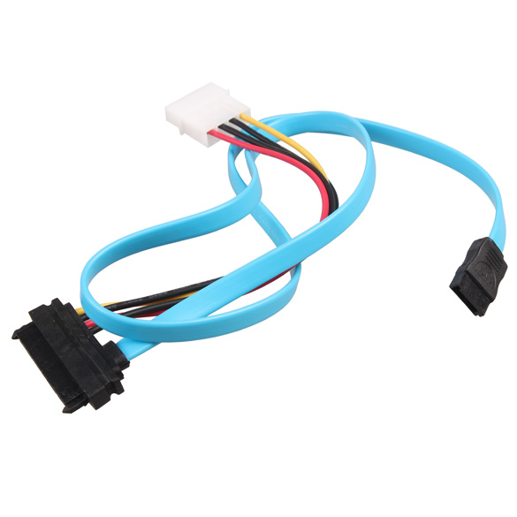 NEW Blue 70cm 7 Pin SATA Serial ATA To SAS 29 Pin And 4 Pin Power Adapter Connector Cable Cord Wire
