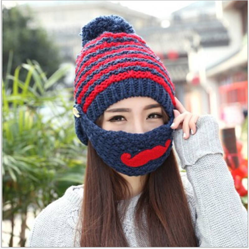 New Knitted Beanies Hats Women Winter Caps Sport Cycling Warm Hats Pompoms Casual Female casquette touca inverno Thick Ride Mask new beautiful colorful ball warm winter beanies women caps casual sweet knitted hats for women outdoor travel free shipping
