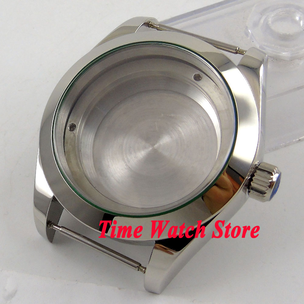 40mm polished 316L stainless steel sapphire glass watch case fit ETA 2836 Miyota 8215 821A movement