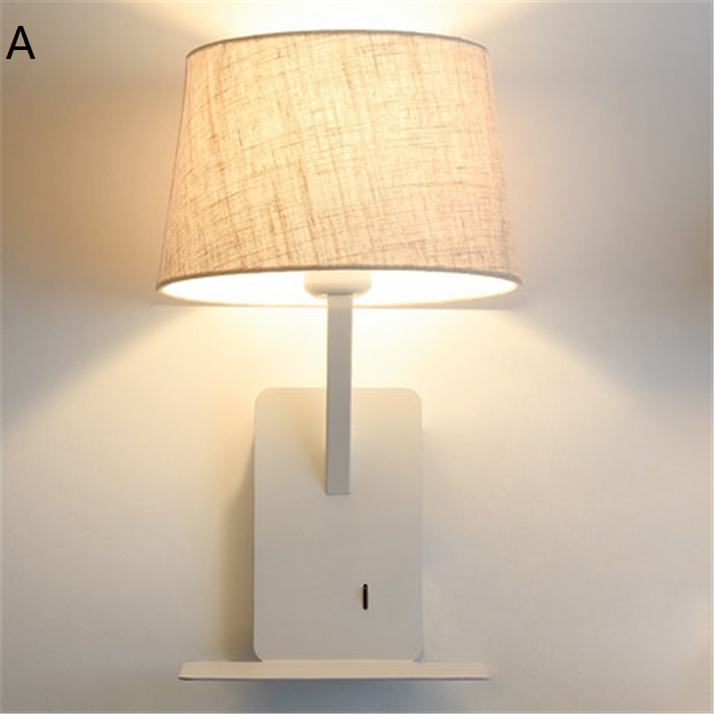 Simple Style With USB Switch Modern LED Wall Light Fixtures Read Bedside Wall Lamp Fabric Shade