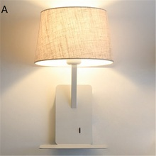 Simple Style With USB Switch Modern LED Wall Light Fixtures Read Bedside Wall Lamp Fabric Shade Iron Wall Sconce Home Lighting simple long arm iron adjust wall sconce modern led wall lamp loft style rotating bedside wall light fixtures indoor lighting