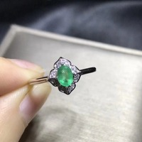 design silver emerald ring Princess Cut natural Columbia emerald Solid 925 silver emerald wedding ring for woman