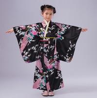 Black Japanese National Baby Girl Kimono Dress Children Yukata With Obi Kid Girl Performance Dance Dress