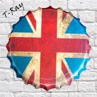 40x40 cm Tłoczone Okrągłe Vintage Plakietka Emaliowana English flag Piwo Zarejestruj Bar pub domu Ściana Decor Retro Metal Art Poste RD-08