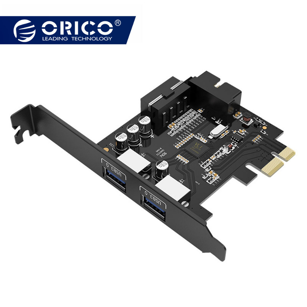 ORICO USB 3,0 PCI-e tarjeta de expansión adaptador PCI-e controlador de HUB USB 3,0 adaptador de tarjeta con 15Pin fuente de alimentación PCI-E extensor tarjeta de