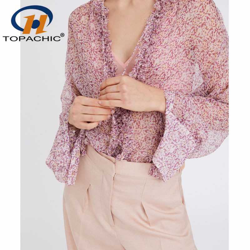 4 24 2019 Spring Summer Bohemian shirt Female Flare Sleeve SILK Bow Print V Neck vintage