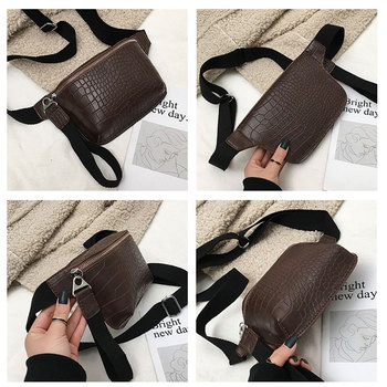 LJT Fanny Pack Vintage Waist Bag Women Alligator PU Leather Belt Bag Chest Handbag Female Small Black Messenger Bag pochete