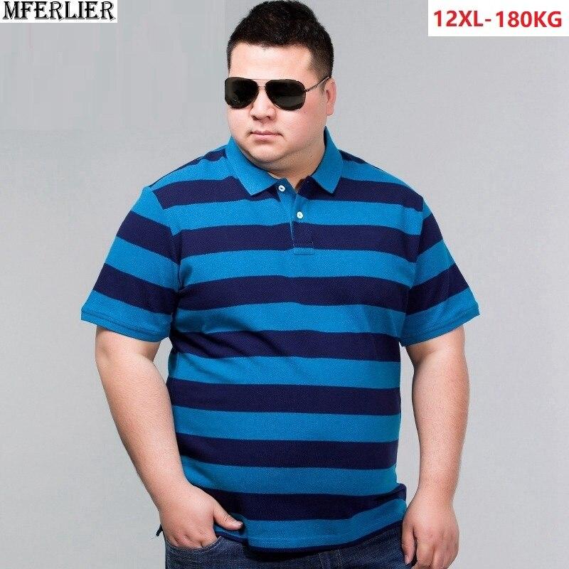 גברים חולצות פסים turn-למטה Colla קצר שרוול tees כותנה חולצת טי רופף בתוספת גודל גדול 8XL 10XL 11XL 12XL 56 58 60 62 64 66 68