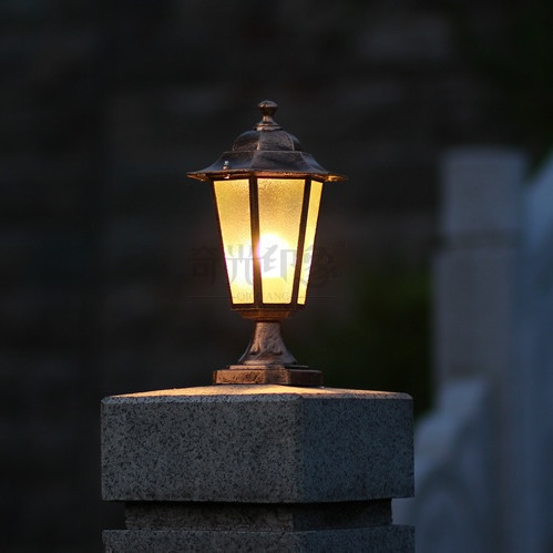 Columbia Outdoor Lights For Pillars Black/bronze Aluminum Post Light In  Night Garden Column Landscape
