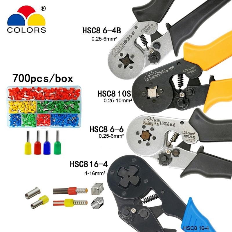 HSC8 10 S 0.25-10mm2 23-7AWG HSC8 6-4B/6-6 0.25-6mm2-10AWG HSC8 16-4 pinze di piegatura e tubo terminal box mini strumenti di marca