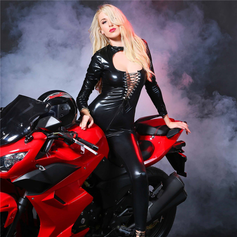 Buy light Hollow Buckle String zipper Tighten Club open crotch bodysuit sexy lingerie porno bodystocking latex catsuit leather
