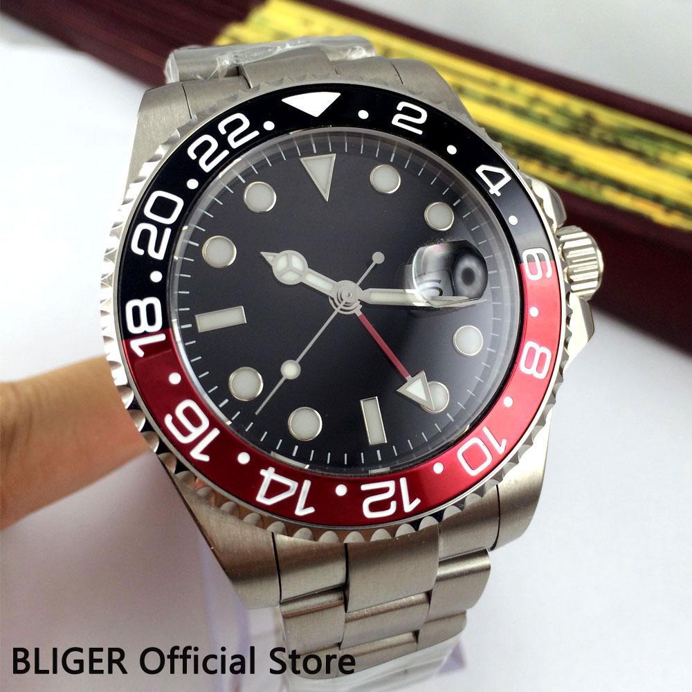 Bliger 43mm sterile black dial Sapphire Glass GMT Function date luminous turning bezel Automatic movement men's watch men B305 цена