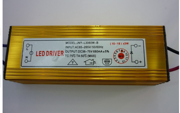 10pcs/lot gold 30w-54w (10-18)x3w 36w 45w 48w constant current LED Driver Waterproof lon ...