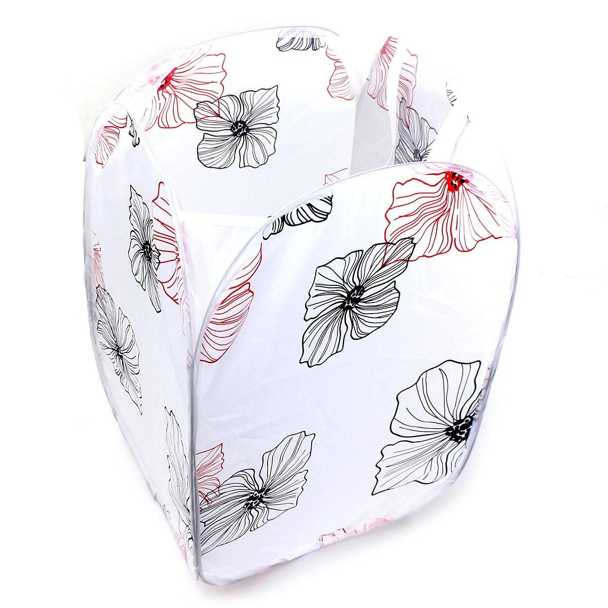 Large-Capacity Foldable Washing Clothes Basket Laundry Bag Bin Hamper Storageflower)