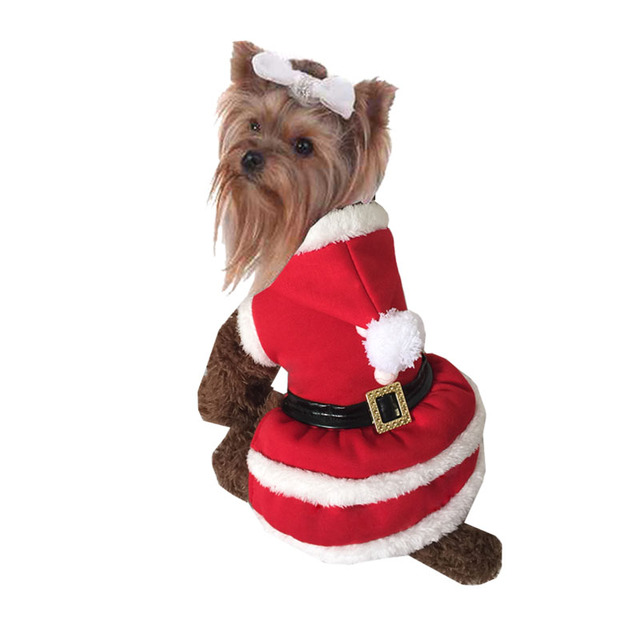 puppy dog christmas dresses winter clothes santa claus costume outwear coat christmas winter pet dog winter