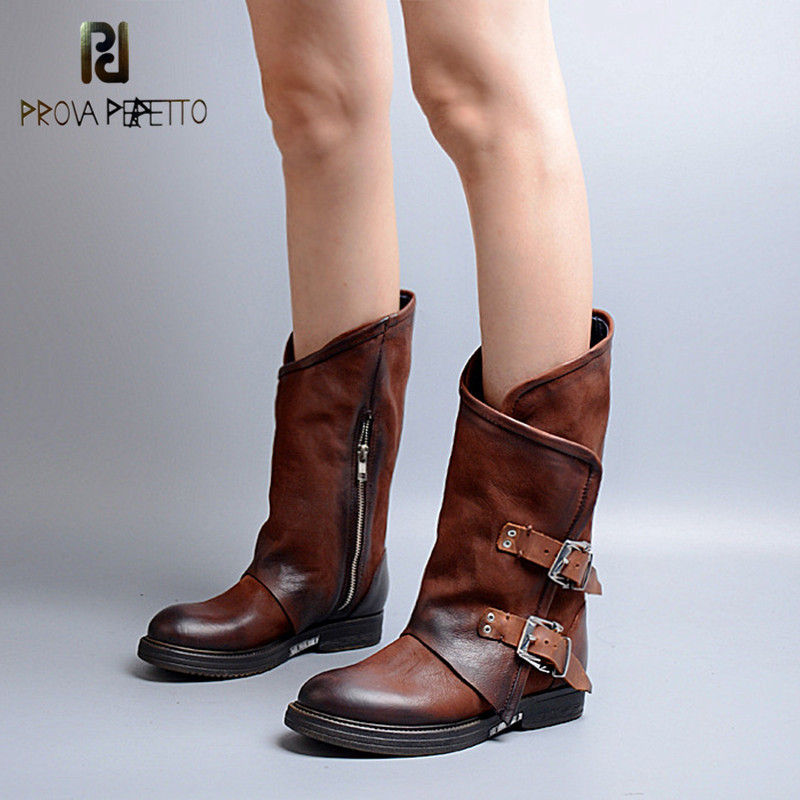 Prova Perfetto Original Design Real Leather Buckle Strap Patchwork Woman Chelsea Boots Thickness Bottom Big Size Low Heel Boots-in Mid-Calf Boots from Shoes    2